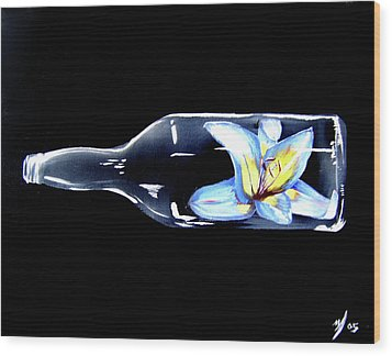 Flower In A Bottle Wood Print