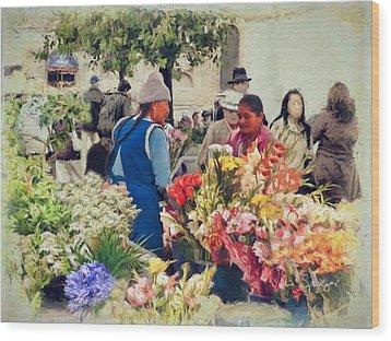 Flower Market - Cuenca - Ecuador Wood Print