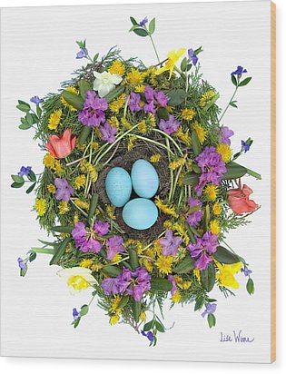 Flower Nest Wood Print