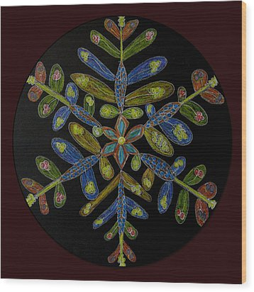 Wood Print featuring the drawing Flower Of Many Colors by Patricia Januszkiewicz