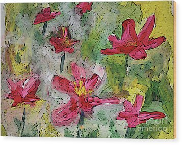 Wood Print featuring the painting Flower Play by Terri Thompson