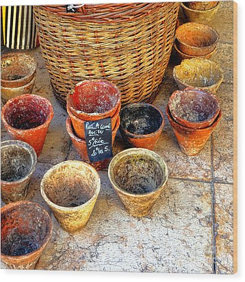 Wood Print featuring the photograph Flower Pots In Provence by Olivier Le Queinec