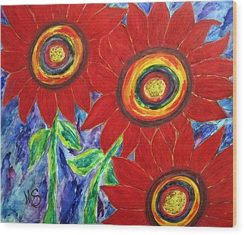 Flower Power Wood Print by M  Stuart