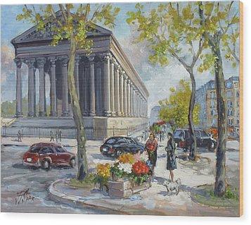 Flower Seller At La Madelaine, Paris Wood Print