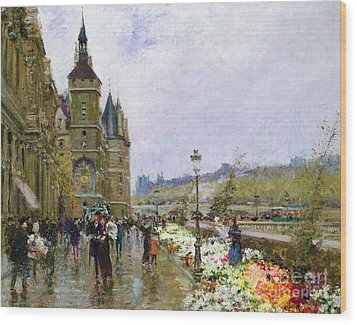 Flower Sellers By The Seine Wood Print by Georges Stein