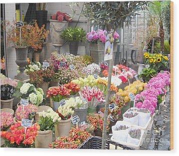 Flower Shop Amsterdam Wood Print by Reina Resto