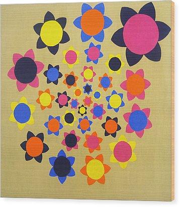 Flower Shower Wood Print by Oliver Johnston
