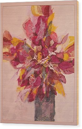 Wood Print featuring the painting Flower Study by Lynn Babineau