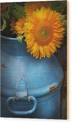 Flower - Sunflower - Little Blue Sunshine  Wood Print by Mike Savad