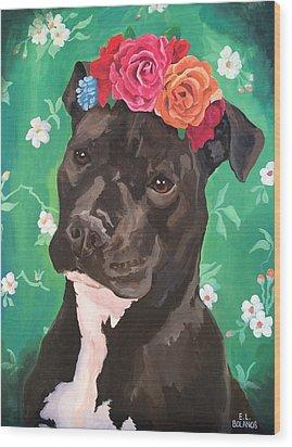 Flower The Pitbull Wood Print by Elisa Bolanos