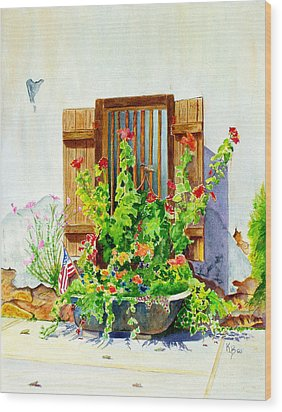 Flower Tub Wood Print by Karen Fleschler