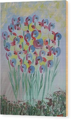 Flower Twists Wood Print by Barbara Yearty
