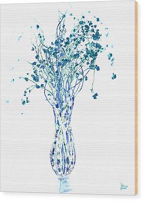Flower Vase In Blue Wood Print by Jeff Breiman