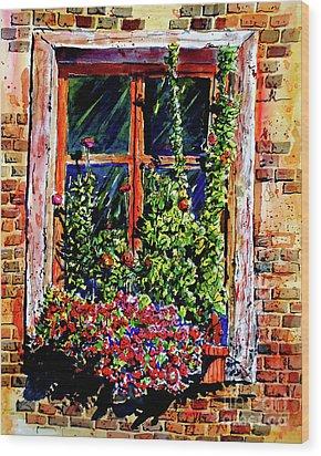 Flower Window Wood Print