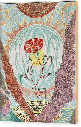 Wood Print featuring the pastel Flower by Yury Bashkin