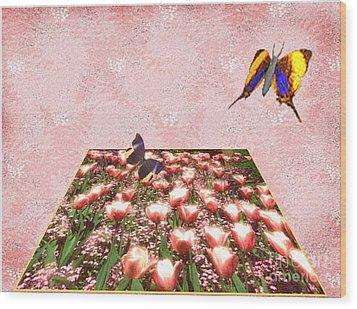 Flowerbed Of Tulips Wood Print by Belinda Threeths
