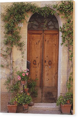 Flowered Tuscan Door Wood Print by Donna Corless