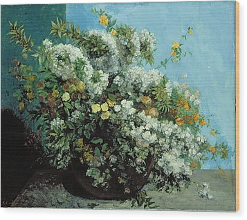 Flowering Branches And Flowers Wood Print by Gustave Courbet