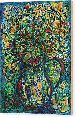 Flowering Humans Wood Print by Natalie Holland