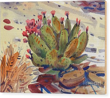 Flowering Opuntia Wood Print
