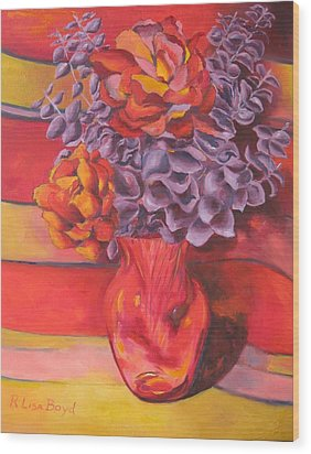 Flowering Orange Wood Print by Lisa Boyd