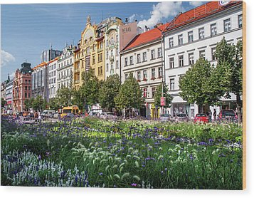 Wood Print featuring the photograph Flowering Wenceslas Square In Prague by Jenny Rainbow