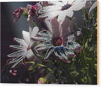 Wood Print featuring the digital art Flowers by Stuart Turnbull