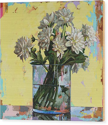 Wood Print featuring the painting Flowers #19 by David Palmer