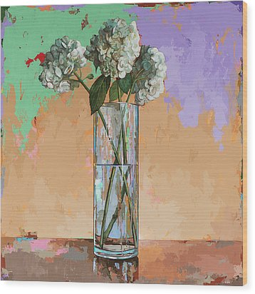 Wood Print featuring the painting Flowers #20 by David Palmer