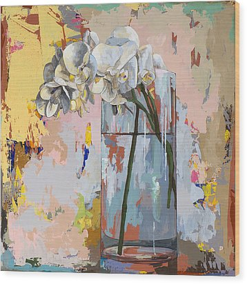 Wood Print featuring the painting Flowers #3 by David Palmer