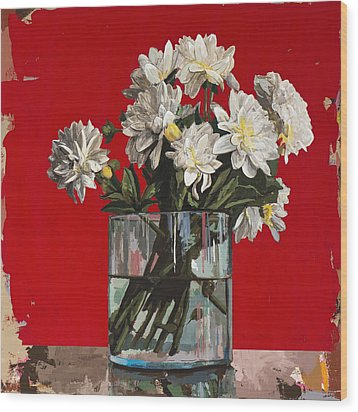 Wood Print featuring the painting Flowers #4 by David Palmer
