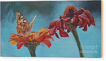 Flowers And Butterfly Wood Print by Janice Wright