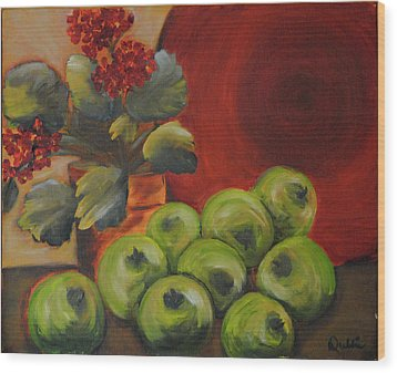 Flowers And Fruit Wood Print