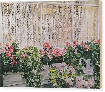 Flowers And Lace Wood Print by David Lloyd Glover