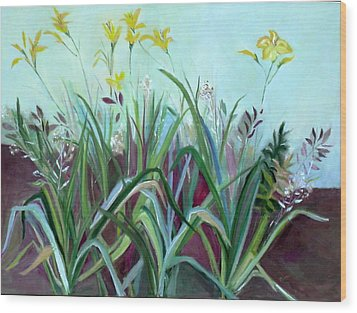 Flowers And Leaves Wood Print by Betty Pieper
