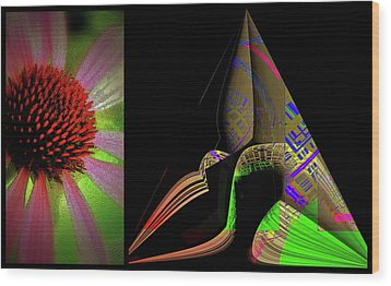Wood Print featuring the digital art Flowers And Shapes by Irma BACKELANT GALLERIES