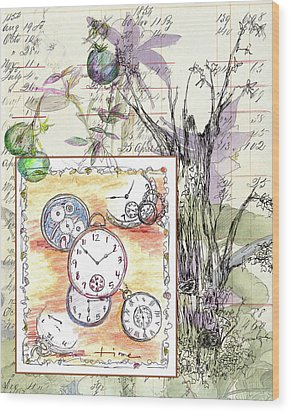Wood Print featuring the drawing Flowers And Time by Cathie Richardson