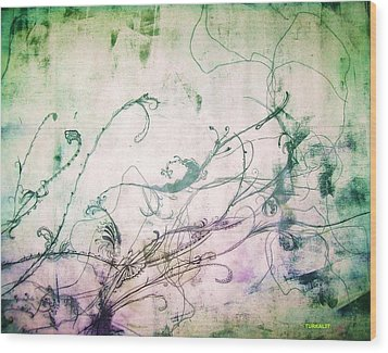 Flowers And Vines Two Wood Print by Tomislav Neely-Turkalj