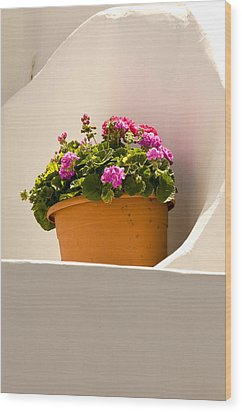 Flowers And White Wall Wood Print by Xavier Cardell