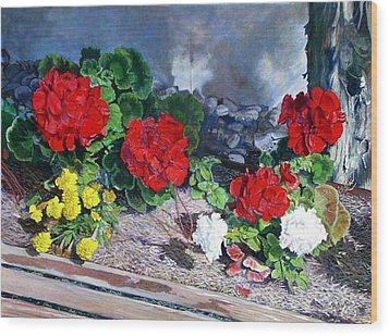 Flowers At Church Wood Print by Scott Robertson