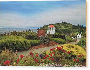 Wood Print featuring the photograph Flowers At The Trinidad Lighthouse by James Eddy