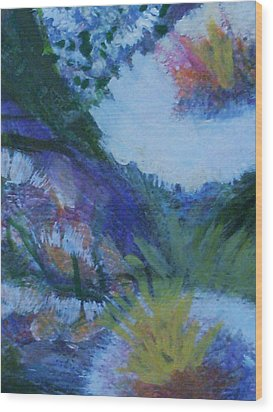 Flowers Bending With The Wind Wood Print by Anne-Elizabeth Whiteway