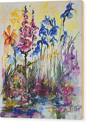 Wood Print featuring the painting Flowers By The Pond Blue Irises Foxglove by Ginette Callaway