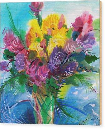 Flowers For My Jesus Wood Print by Karen Showell