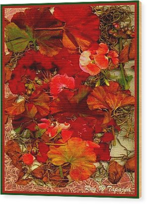 Wood Print featuring the mixed media Flowers For You by Ray Tapajna