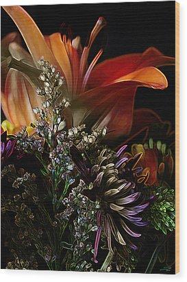 Wood Print featuring the digital art Flowers 2 by Stuart Turnbull