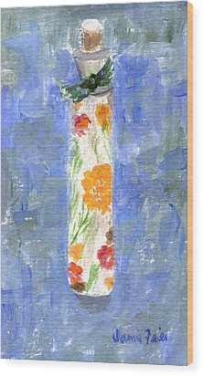 Wood Print featuring the painting Flowers In A Bottle by Jamie Frier