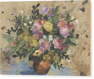 Flowers In A Clay Vase Wood Print by Nira Schwartz