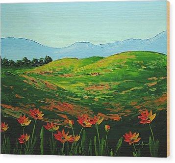 Flowers In A Meadow Wood Print by Nolan Clark