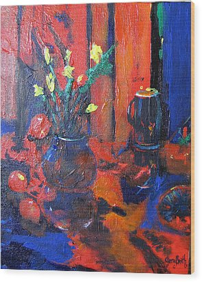 Flowers In Blue Vase Wood Print by Gary Smith